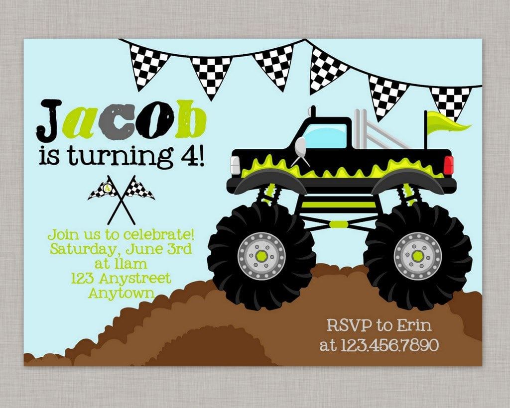 Free Printable Monster Truck Birthday Party Invitations