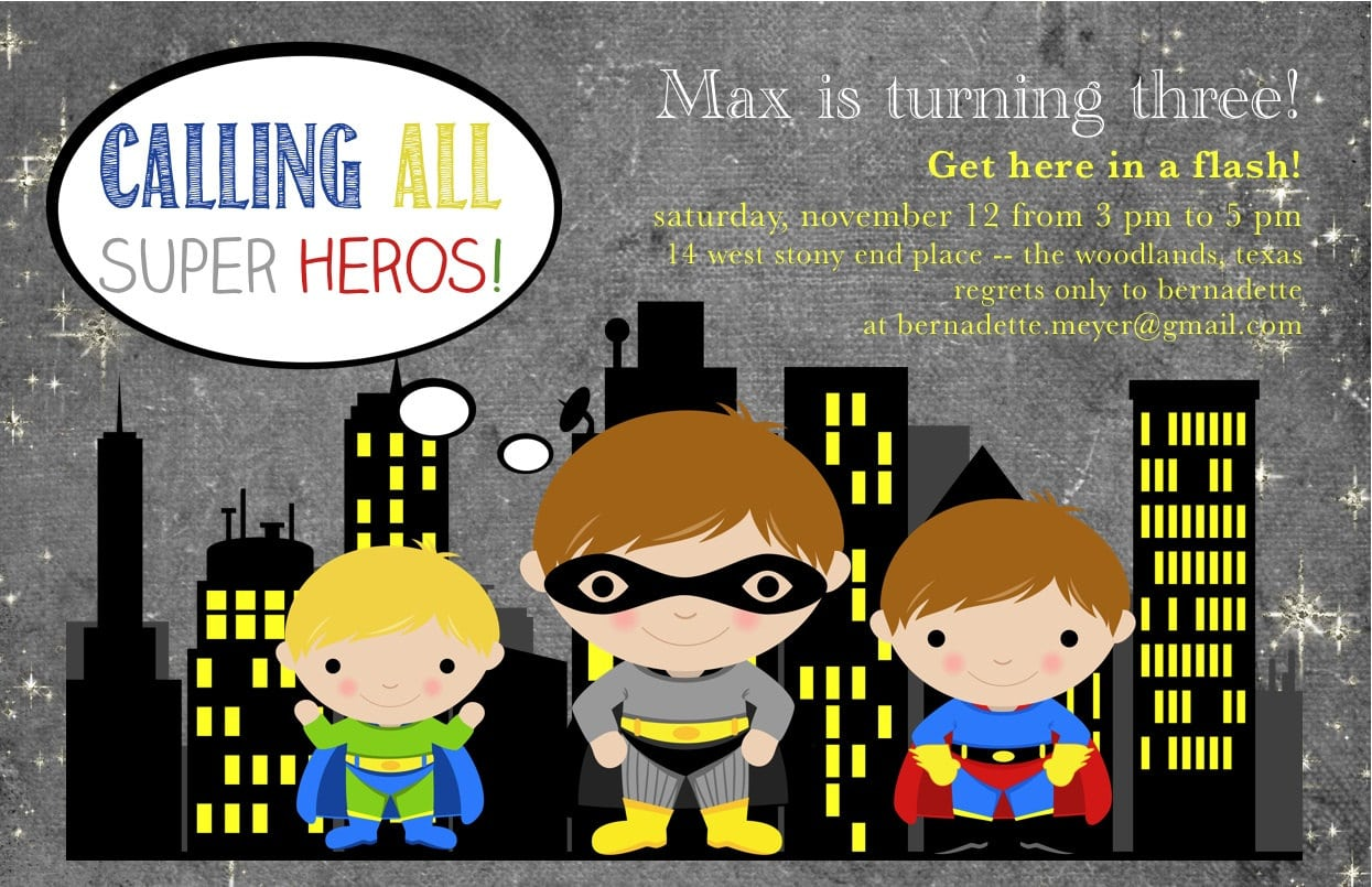 superhero party invitations free printable