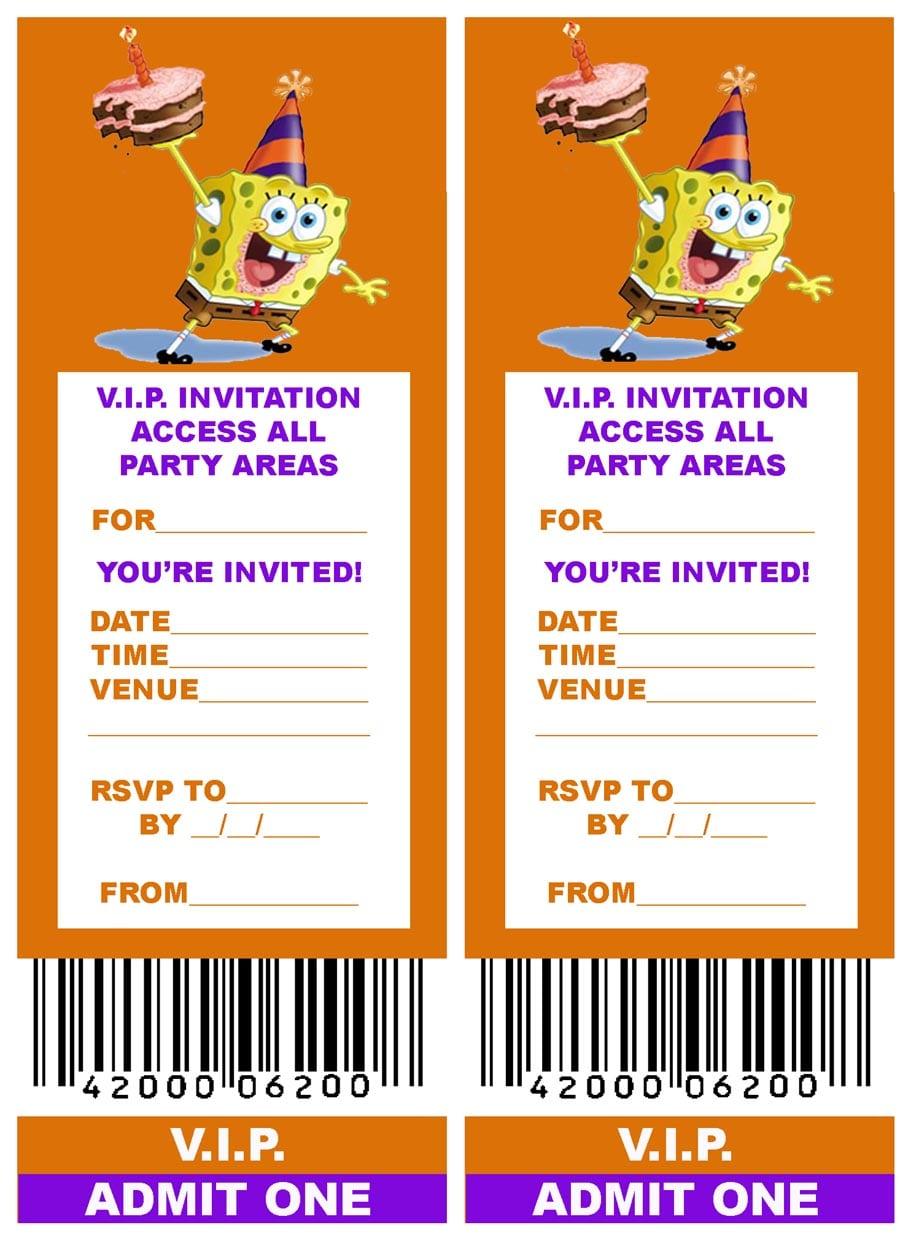 Free, Printable V I P  Ticket Style Spongebob Party Invitations