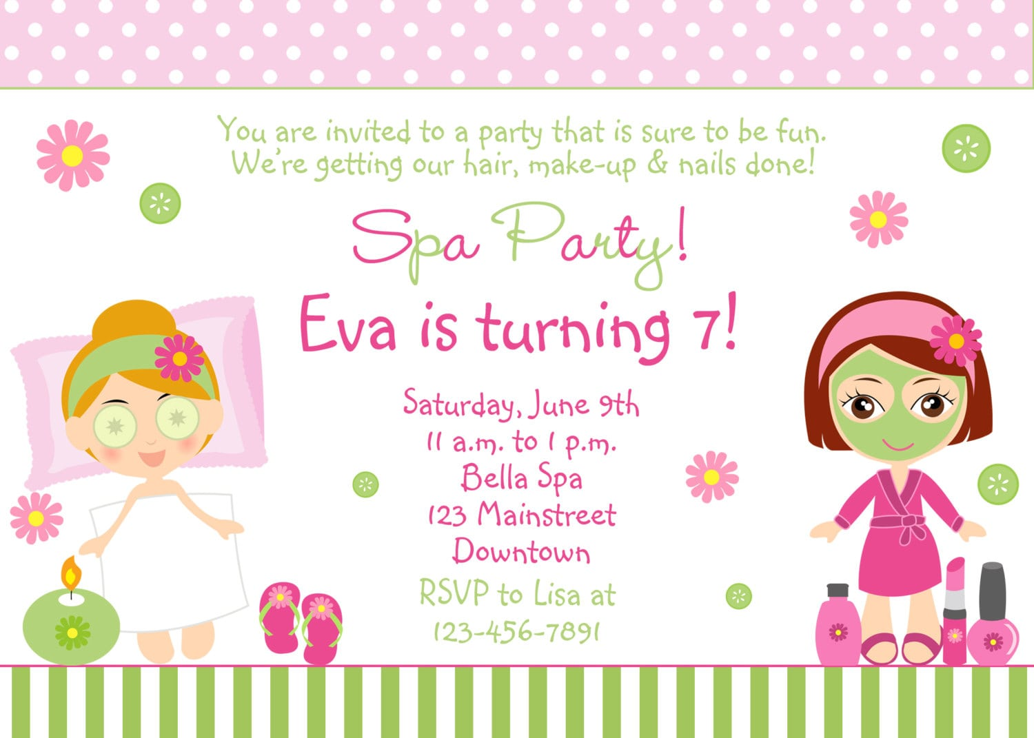 Free Spa Party Invitations Printables Girls – Invitetown