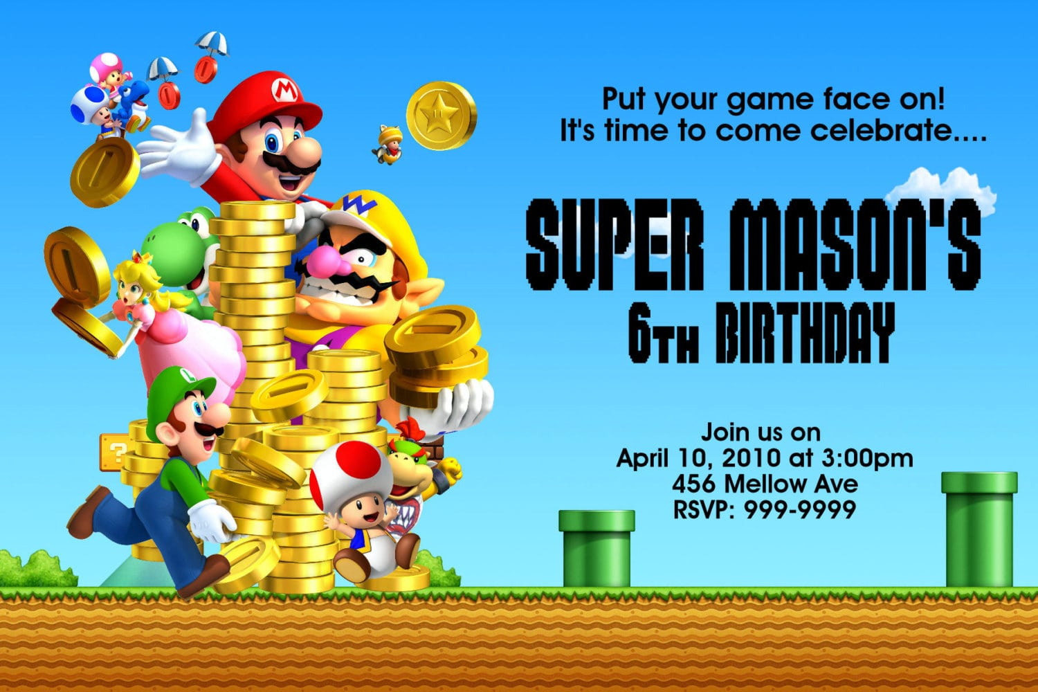Free Template Super Mario Bros Birthday Invitations
