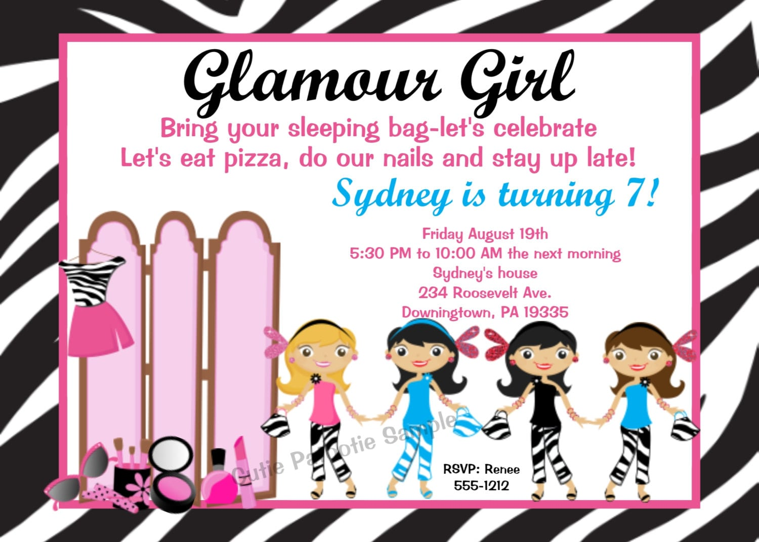 Glamour Girl Invitations Glamour Girl Birthday Party Invitation