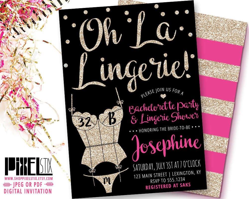 Gold Glitter Lingerie Shower Invitation, Oh La Lingerie