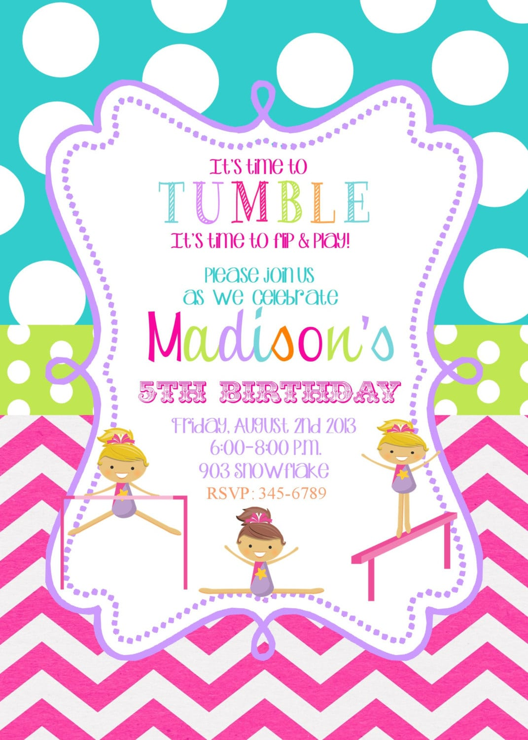 Gymnastics Birthday Party Invitations Printable Or Digital File By