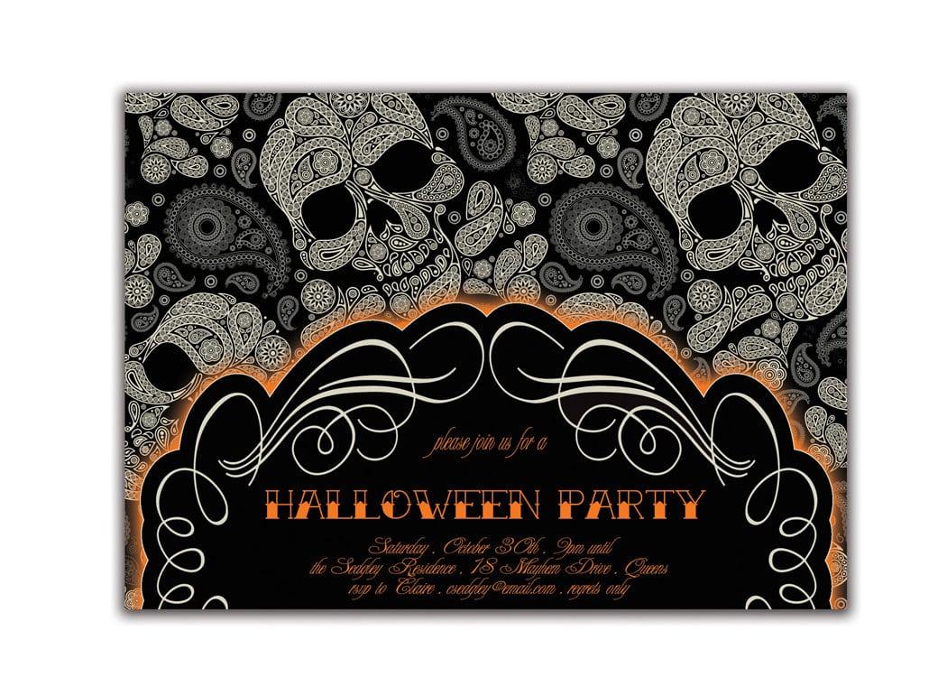 Halloween Party Invitation Gothic Skulls Tattoo Sugar Skulls