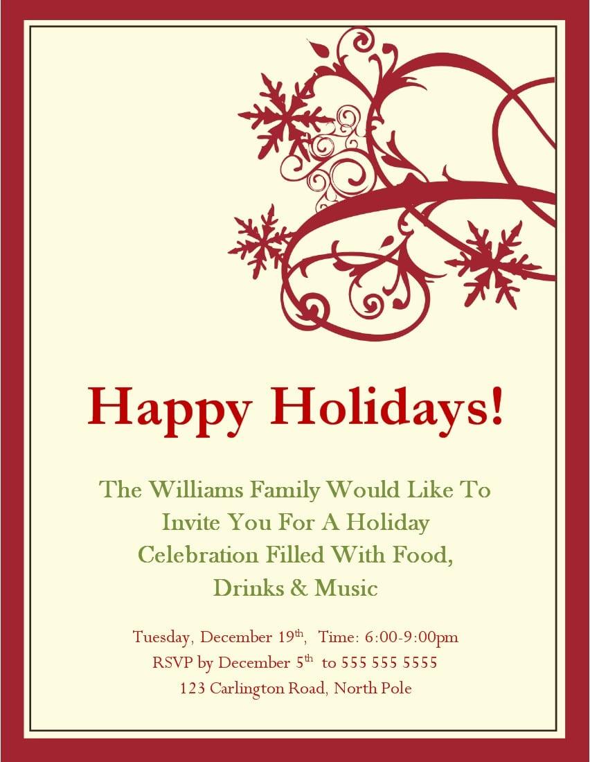 Holiday Invite Templates Free