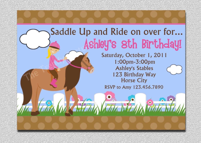 Horse Themed Birthday Party Invitations