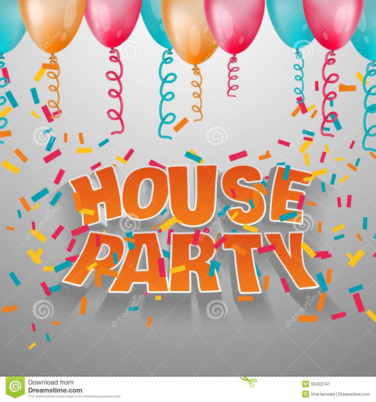 House Party Card Invitation  Stock Vector
