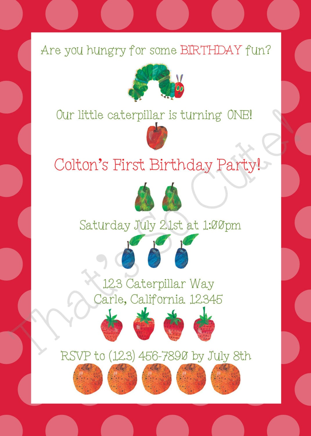 Hungry Caterpillar Party Invitations