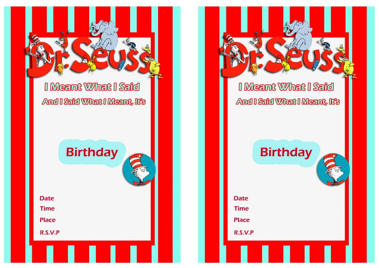 Image Result For Dr  Seuss Birthday Printable