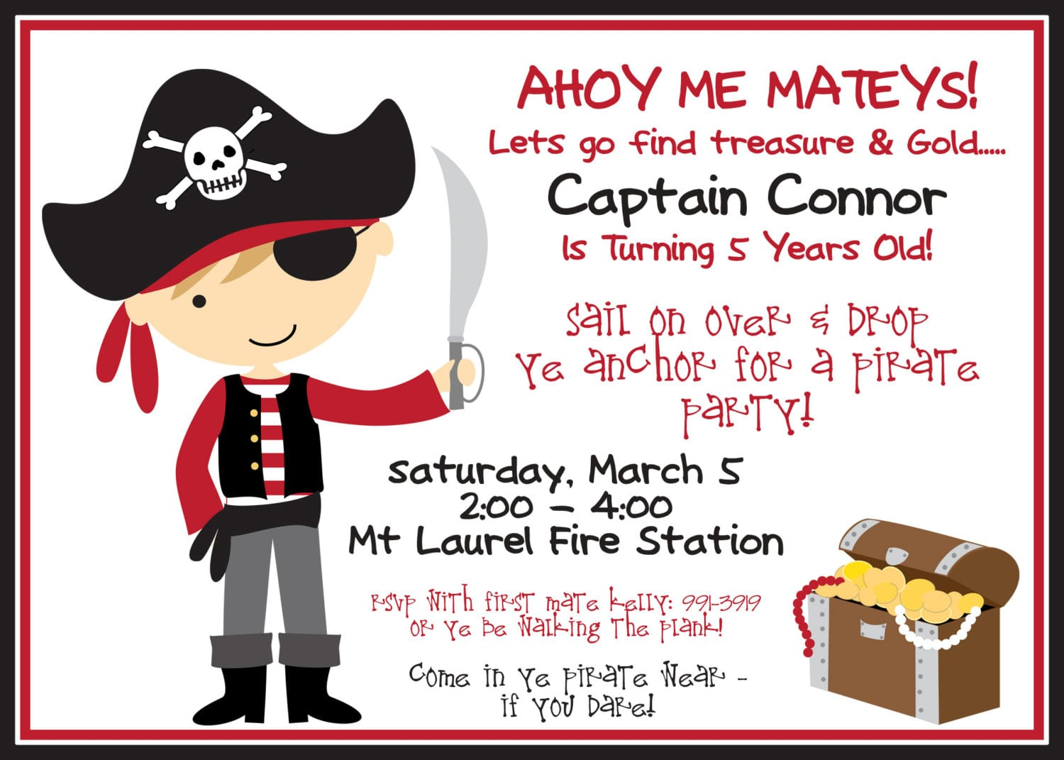Incredible Pirate Birthday Party Invitation Template Became