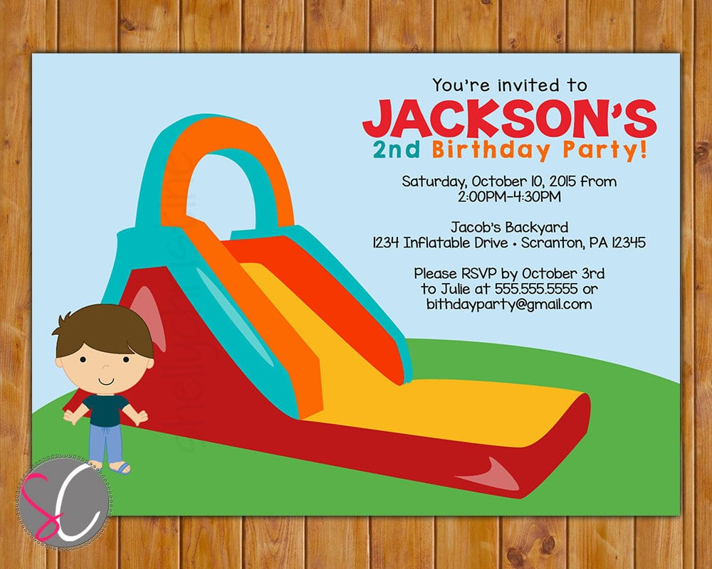 Inflatable Slide Birthday Party Invitation Boys Bounce Party