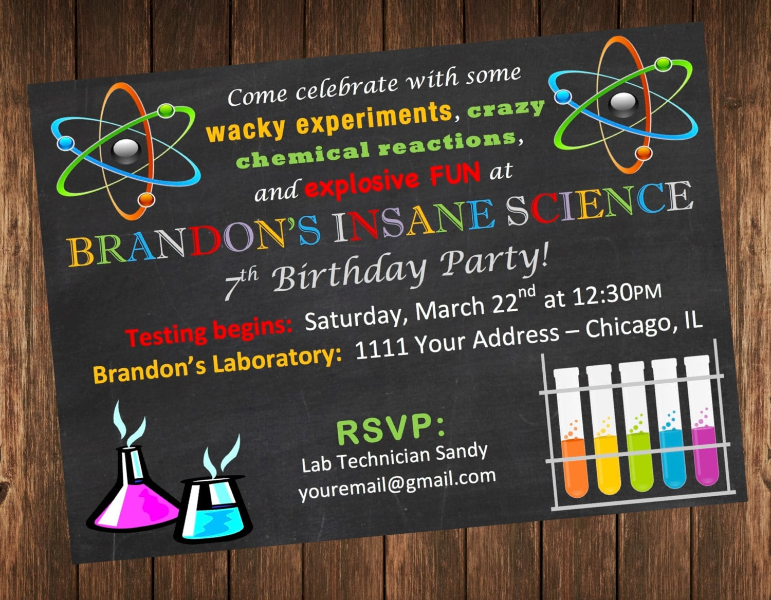 Science themed birthday party invitations filmwisefo