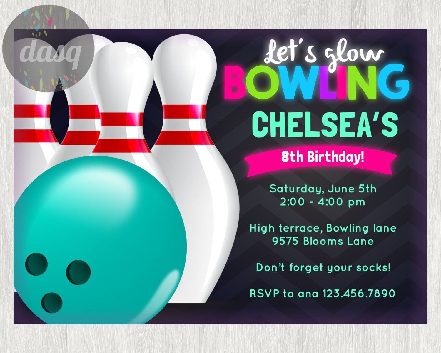 Instant  Download Bowling  Invitation