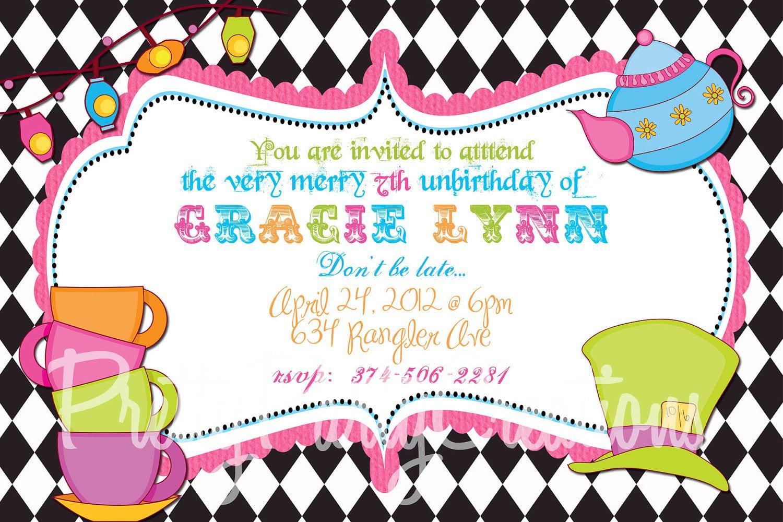 Invitation  Mad Hatters Tea Party Invitation Template