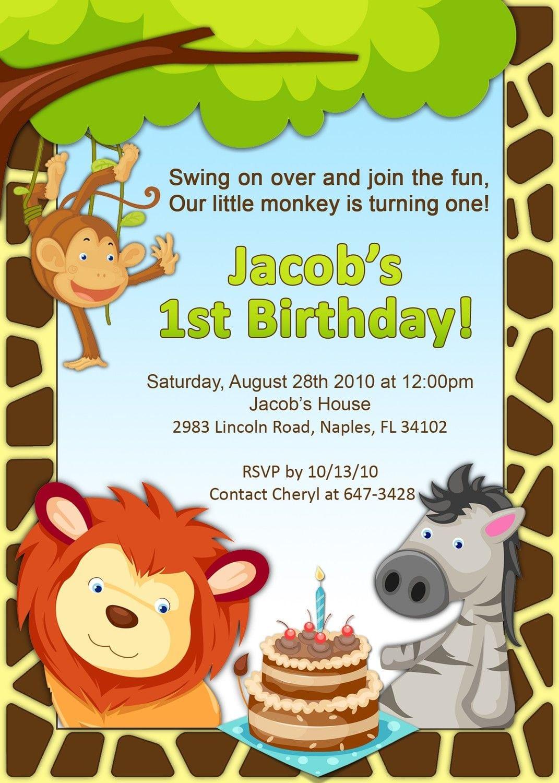Jungle Themed Birthday Invitation By Amandacreation On Etsy