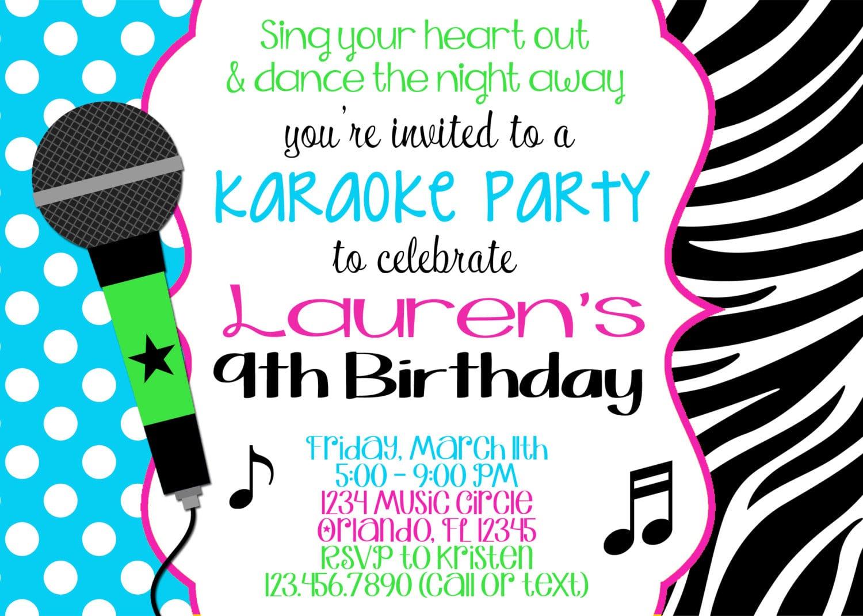Karaoke Party Invitations