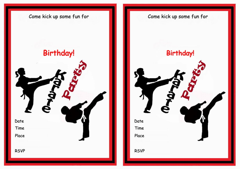 Karate Free Printable Birthday Party Invitations