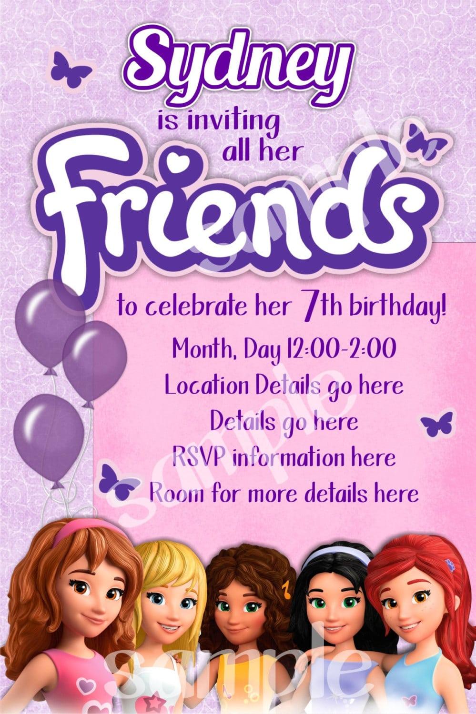 Lego Friends Invitation