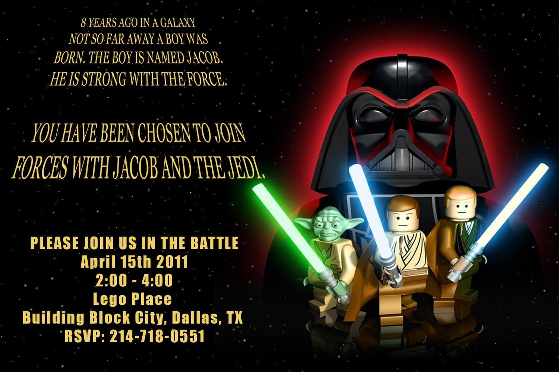 Lego Star Wars Birthday Party Invitations
