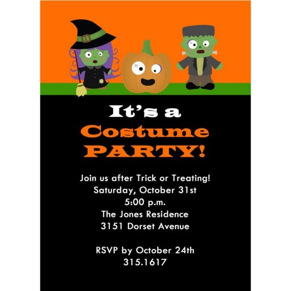 Lovely Halloween Costume Party Invitation Wording Inside