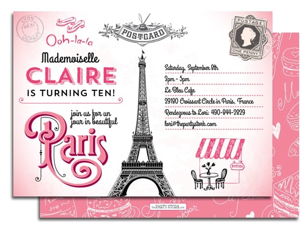 Lovely Paris Birthday Party Invitation 8 Images Invitation Awesome