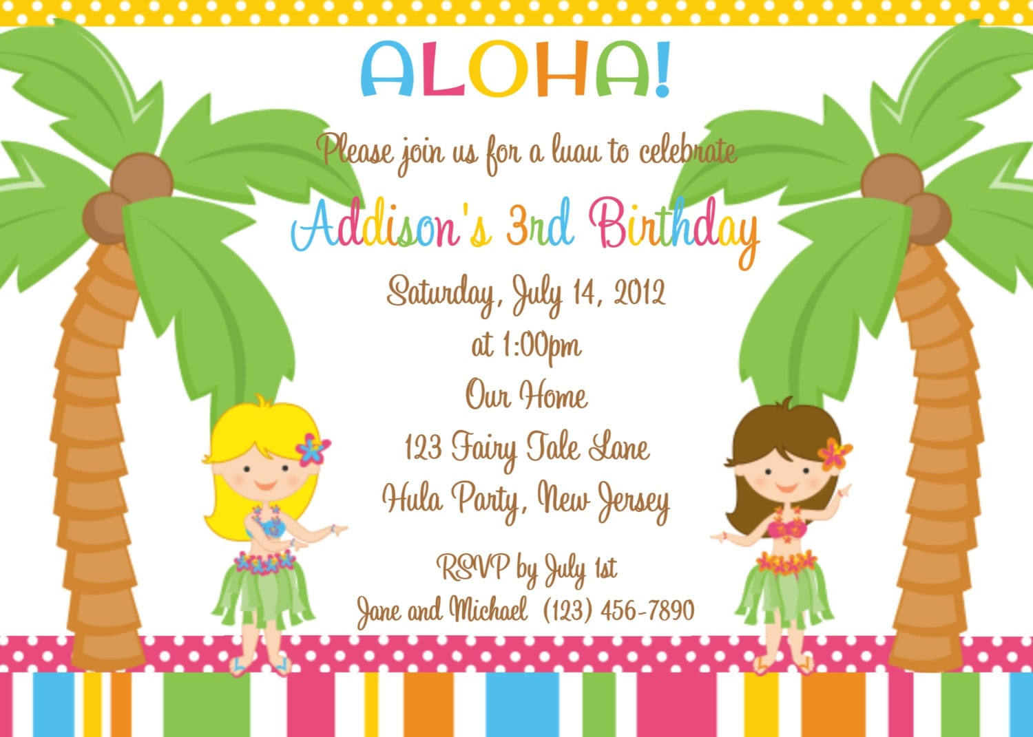 Luau Birthday Invitation Templates