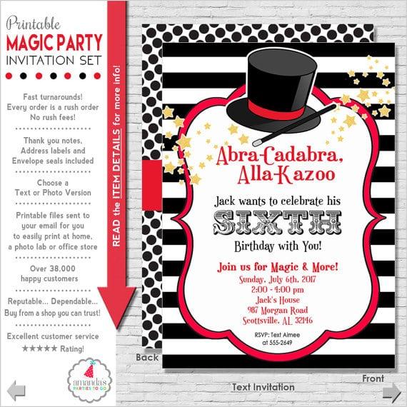 Magic Party Invitation Magic Birthday Invitation Magic