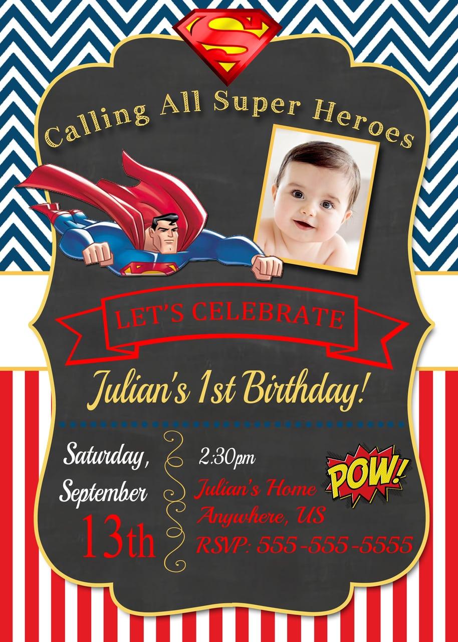 Magnificent Superman Party Invitations Photos
