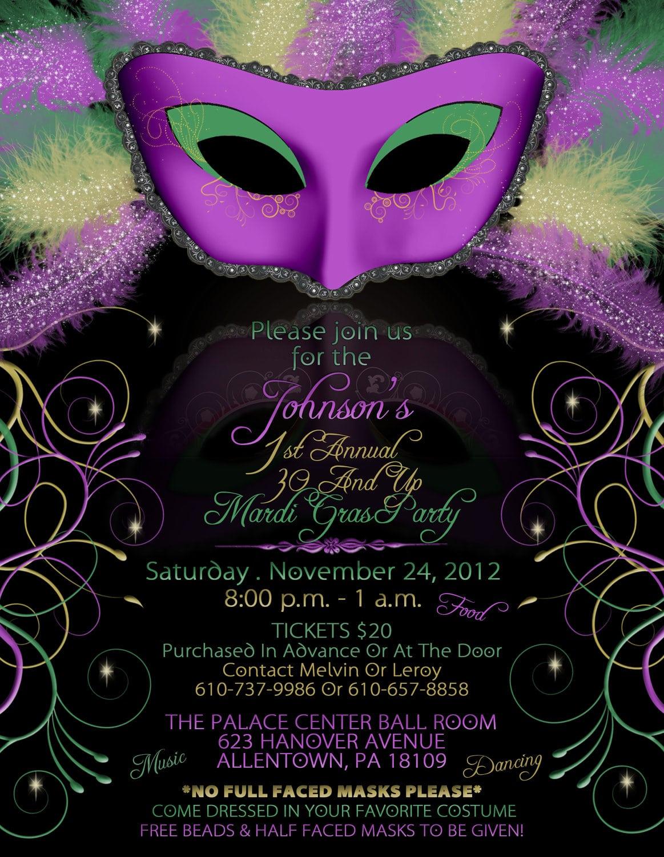 Mardi Gras Birthday Party Invitations