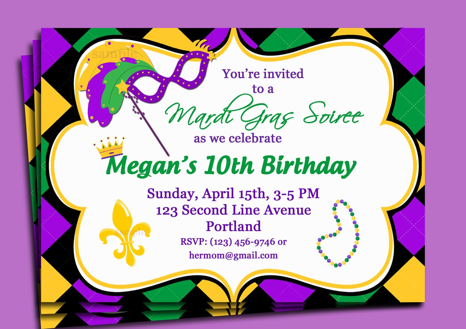 Mardi Gras Carnival Invitation Printable Or Printed With Free