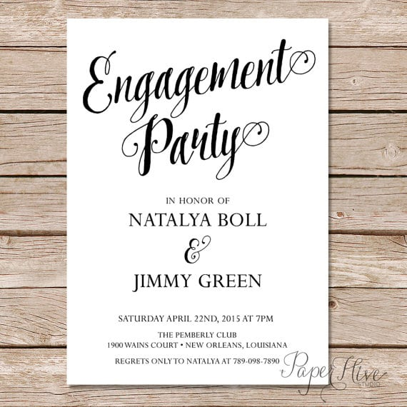 Modern Calligraphy Engagement Party Invitation   Calligraphy