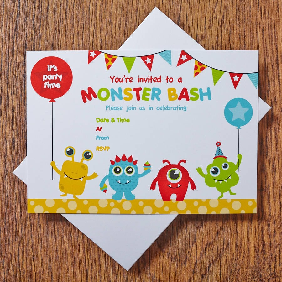 Monster Party Invitations By Feather Grey Parties