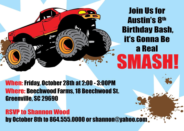 Monster Truck Invitations, Boy Childs Birthday Party, Set Of 10