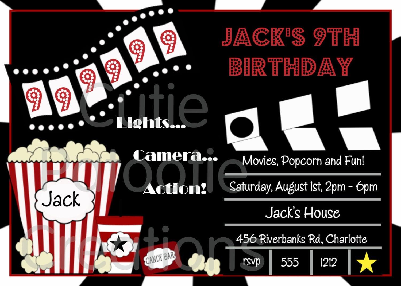 Movie Birthday Invitation, Movie Night Party Invitations
