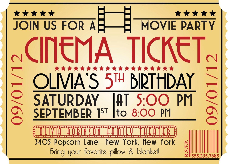 Movie Night Birthday Party Themed Invitation