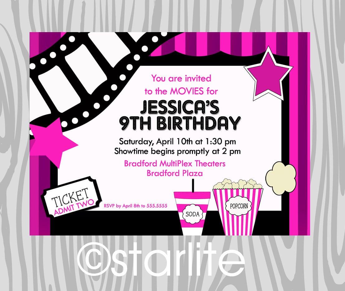 Movie Themed Party Invitations Free