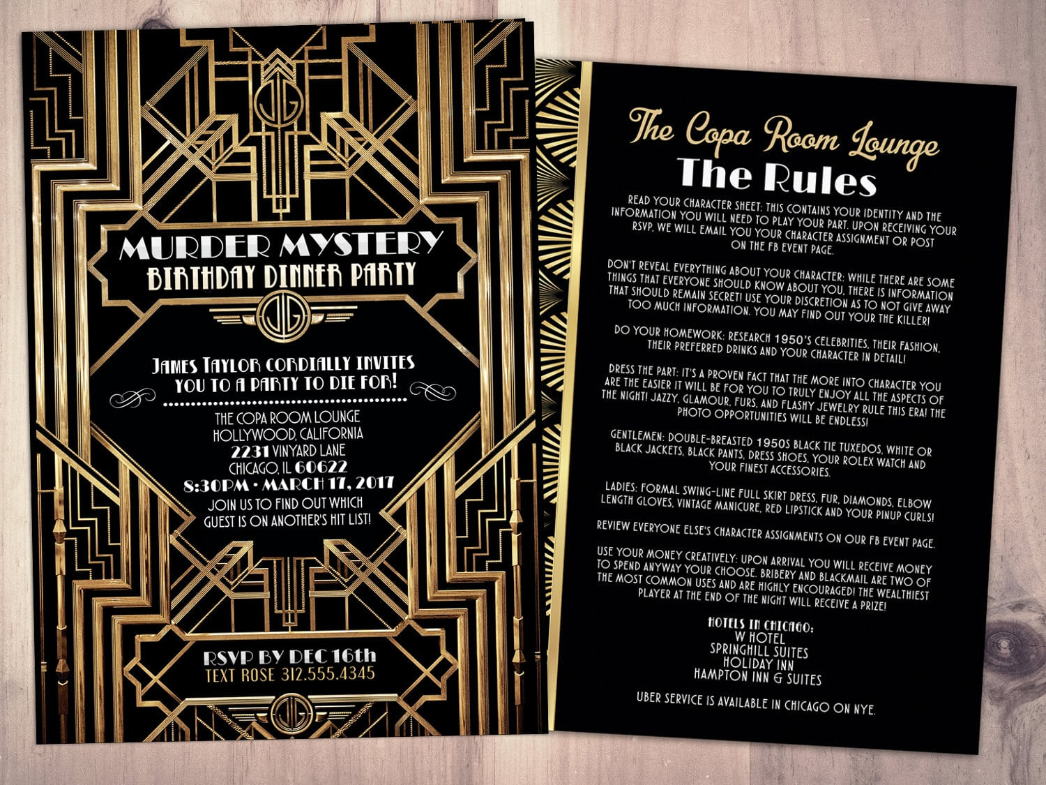 Murder Mystery Dinner Party Invitation, Vintage Party Invitation