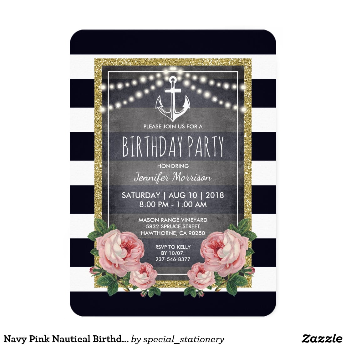 Navy Pink Nautical Birthday Party Card Pretty Nautical Themed