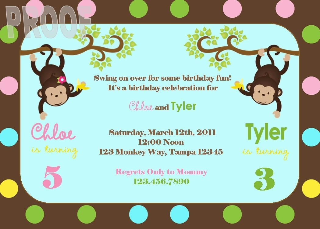 New Monkey Joint Birthday Party Custom Invitation Perfect For