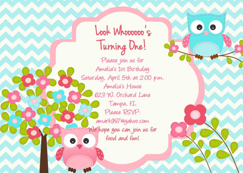 Owl Birthday Invitation Template
