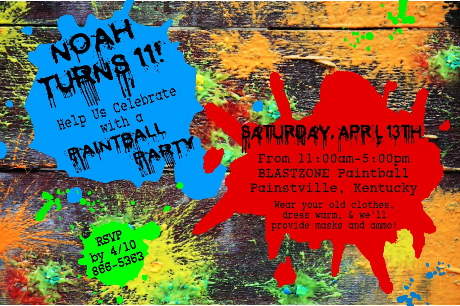 Paintball Birthday Party Invitation Blue Red And Green