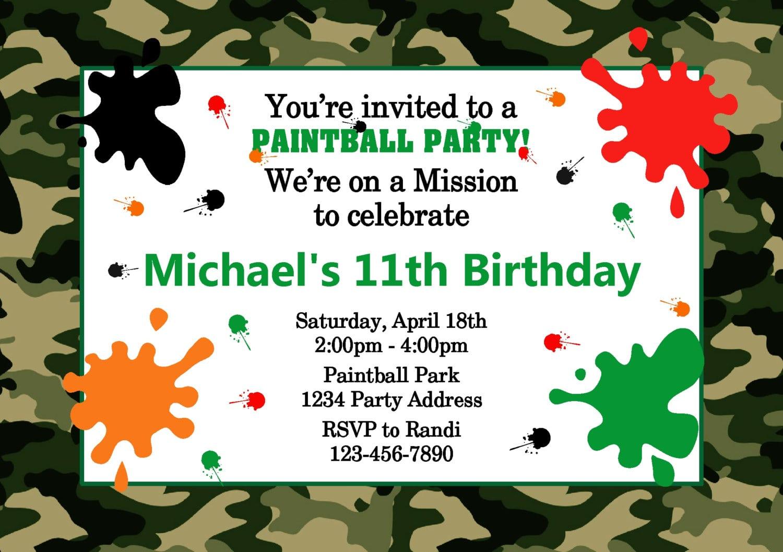 Paintball Birthday Party Invitations