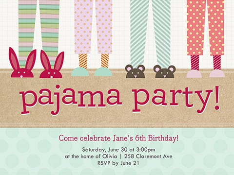 Pajama Party Invitations Pajama Party Invitations Including