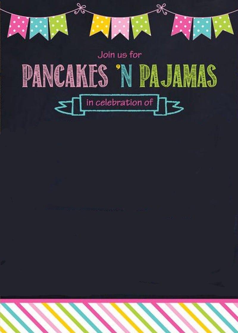 Pancaces 'n Pajama Party Invitation Template