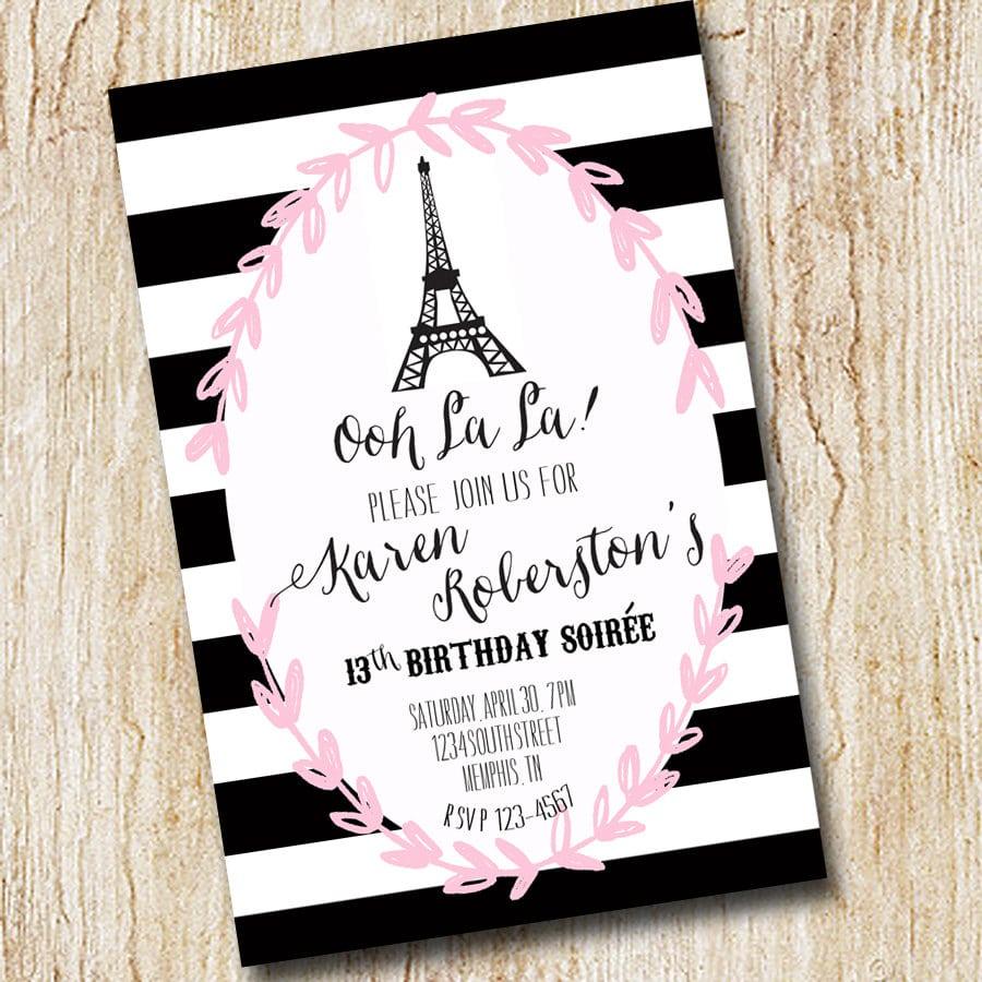 Paris Eiffel Tower Girl Birthday Party Invitation
