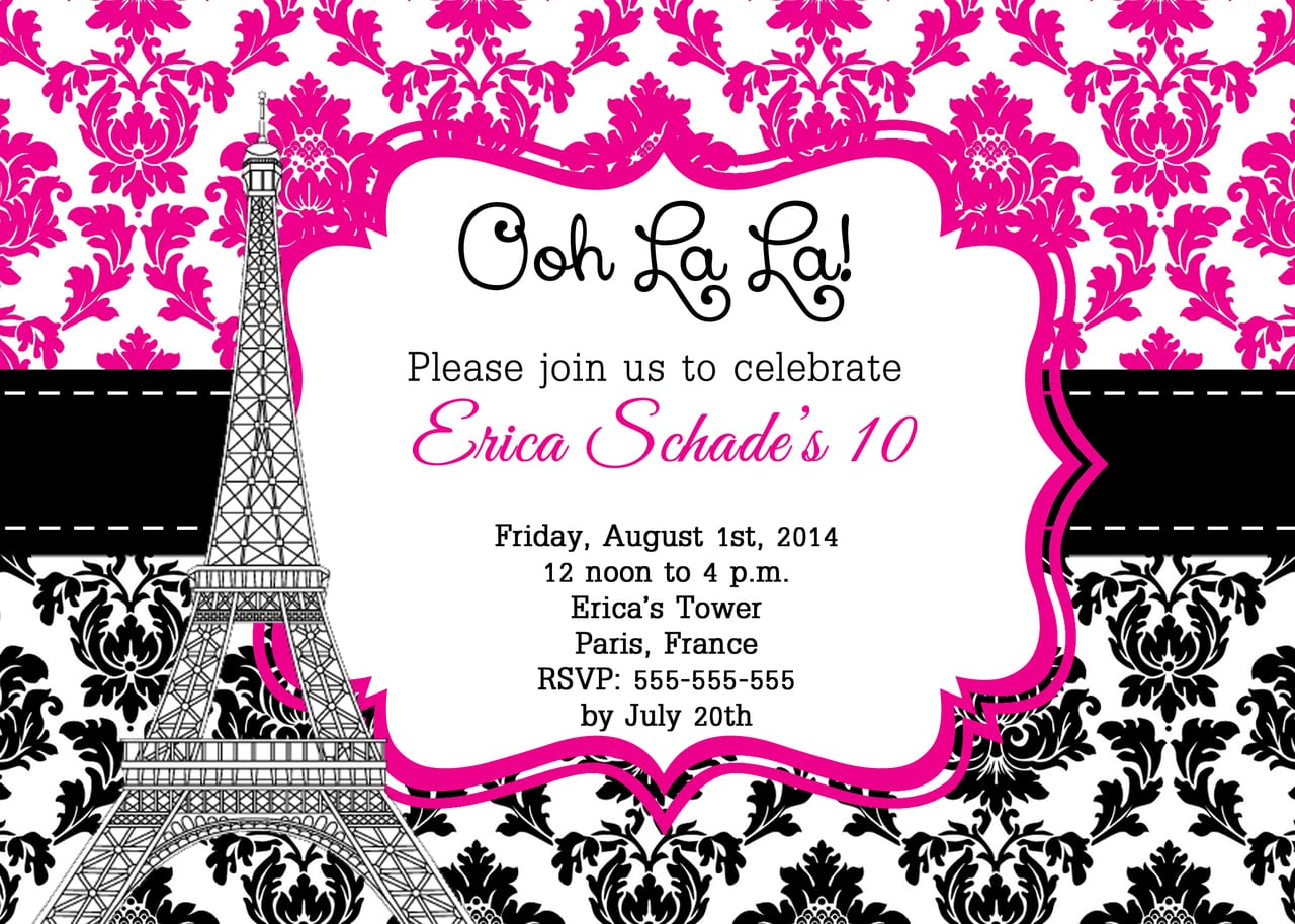 Paris Party Invitations Paris Party Invitations Together With A