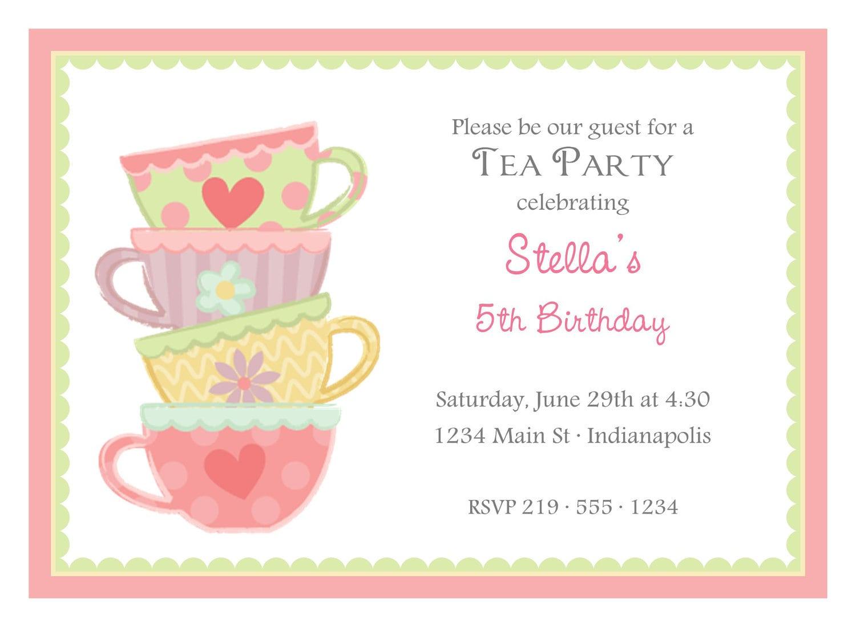 Party Invitations  Great Design Tea Party Invitation Wording