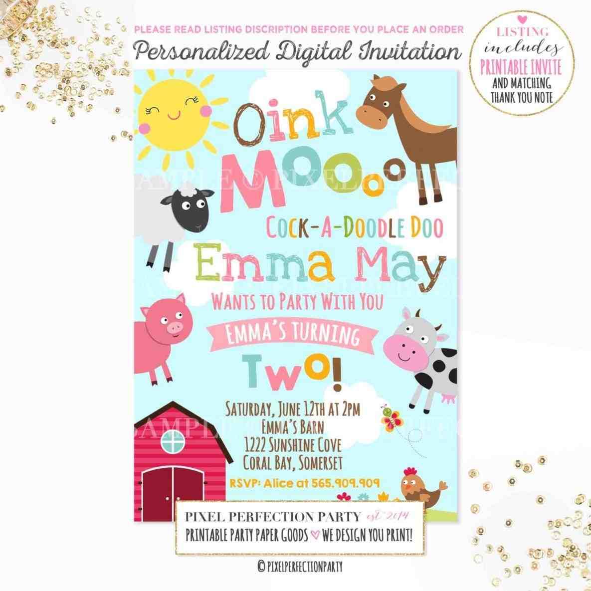 Petting Zoo Birthday Party Invitations
