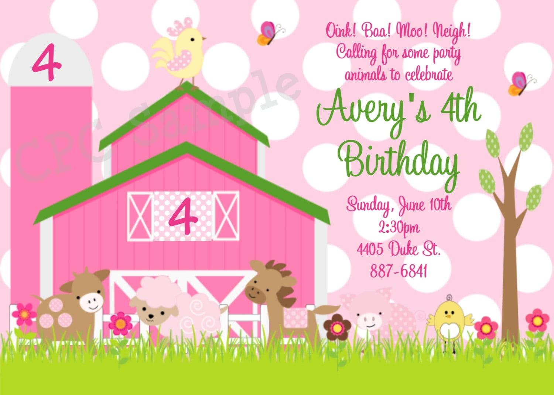 Pink Farm Birthday Invitation